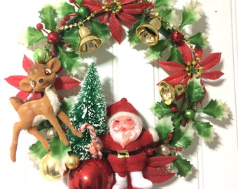 Christmas Wreath made from Vintage Materials