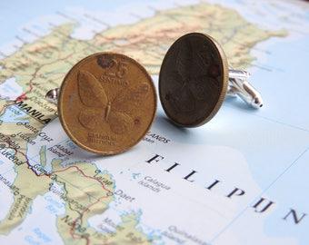 Philippines coin cufflinks - 2 different designs - made of original coins - vintage - butterfly - wanderlust - Manilla