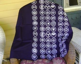 Vintage Furoshiki Fabric/White Circular Motifs with Japanese Symbols  on an Indigo Background/Table Cloth, Wall Hangings, Craft Supplies