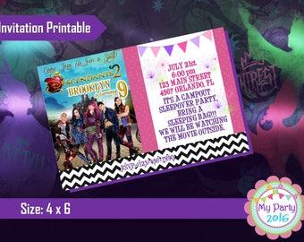 Descendants 2 Birthday Party Invitation - Printable