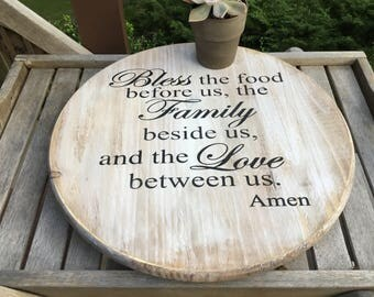 """Lazy Susan,Bless this food,18"""" Decorative turntable,FREE SHIPPING,kitchen tray,rustic turntable,farmhouse,custom lazy susan"""