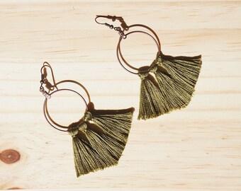 Green Tassel Earrings, Hoop Tassel Earrings, Brass Earrings