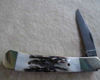 Parker Damascus Blade Stag Handle Knife - Vintage Folding Pocket Knife
