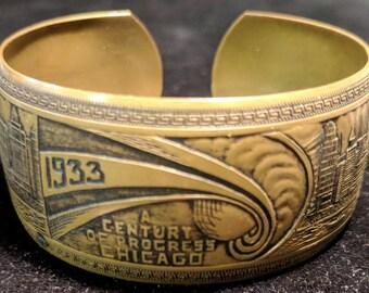 1933 A Century of Progress Chicago - Brass Bracelet