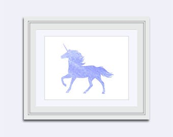 unicorn Room Decor - Unicorn printable - blue unicorn - Watercolor print - Nursery decor - kids room art - Magical unicorn - child wall art