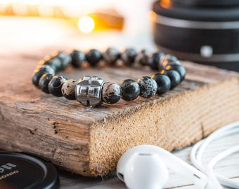 8mm - Black regalite beaded stretchy bracelet with stainless steel end bead, gray bracelet, mens bracelet, mens beaded bracelet