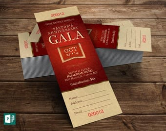 Red church anniversary banquet ticket publisher template pastor appreciation gala ticket publisher template 6 background color files included pronofoot35fo Choice Image
