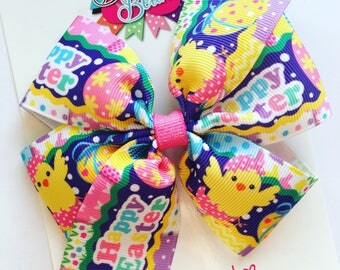 Easter Hair Bow, Easter Bow, Easter Baby Headband, Easter Toddler Bow, Easter Girls Bow, Easter Themed Bow, 4in Pinwheel Bow