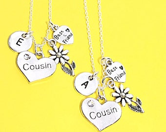 Cousin necklace set of 2, best friend necklaces for 2, friendship jewelry, distance friends, 2 bff necklaces, gift for best friend, cousins