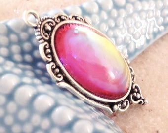 Handmade pink cabochon Indian iridescent yellow orange metal /cabochon glass pendant