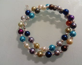 Double Pearl colored bead and silver bracelet