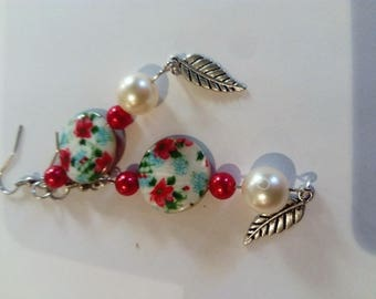Pink Pearl and cabochon earring