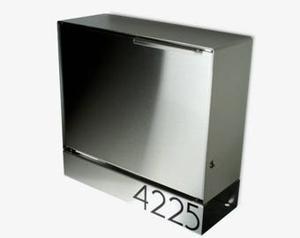 Larger Modern mailbox - stainless steel design, large, Wall Mounted mailbox, contemporary house - lock mid-century #MB1414