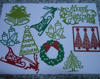 Christmas Embellishments Die Cut Grab Bag, Cards, Scrapbooks, Gifts, Tags, Decorations, Card Topper