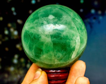 Large Green Fluorite Crystal Ball - Large Crystals - Rocks and Minerals - Natural Curios - Gifts for Her - Crystal Sphere Polished Fluorite
