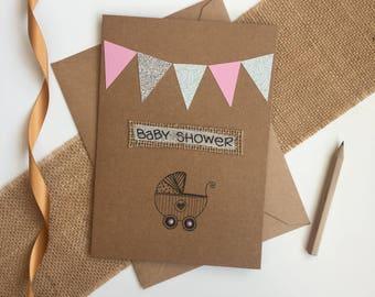 Baby shower card, baby girl card, new baby card, handmade card, card for baby