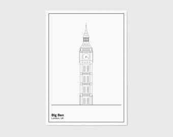 Big Ben, Line, London Print | London Artwork | London Illustration | Architecture Print | City Print