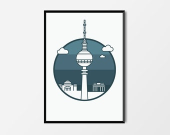 Berlin Print, Television Tower | Berlin Artwork | Berlin Illustration | Architecture Print | City Print | Television Tower Print