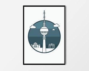 Berlin Print, Television Tower | Berlin Artwork | Berlin Illustration | Architecture Print | City Print | Television Tower Print