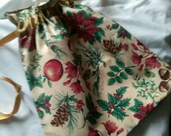 Christmas Regency reticule/ drawstring bag.