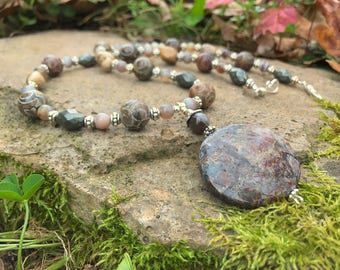 Beaded Necklace with Jasper and Pyrite