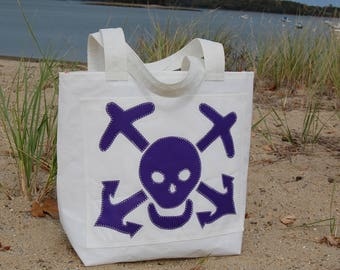Purple Skull and Bone- Small Recycled Sail Bag - Every Day Tote