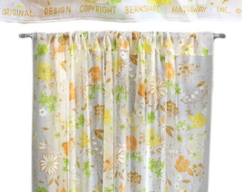 Vintage Retro 1960s Sheer Floral Curtain Panel