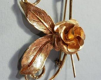 vintage Winard 12 KT Gold filled Rose Brooch, Winard, 1950's, Gold Filled Rose Brooch, Brooch, Rose Brooch