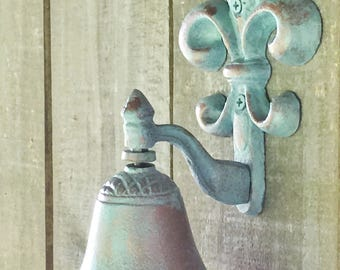 French Fleur de Lis Cast Iron Door Bell, Copper Verde Aqua Patina, Paris France Decor