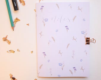 A5 floral notebook / plain recycled noteboom