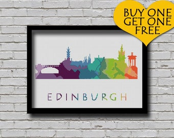 Cross Stitch Pattern Edinburgh Glasgow Scotland Europe City Silhouette Watercolor Effect Embroidery Rainbow Color Skyline xstitch