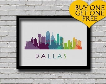 Cross Stitch Pattern Dallas Texas Silhouette Watercolor Painting Effect Decor Embroidery Modern Ornament Usa City Skyline Xstitch