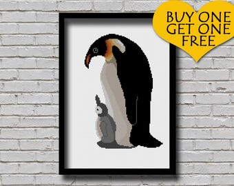 Cross Stitch Pattern Mother and Baby Penguins Bird Art Mom Chick Penguins Animal Xstitch Modern Decor Gift for DIYers Emperor Penguin