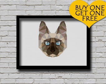 Cross Stitch Pattern Siamese Cat Pet Pattern Modern Home Decor Cat Face Geometric E Pattern Polygonal Cross Stitch Pattern