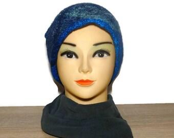 Felted Hat Wool Hat Blue Hat Navy Hat Woman Hat Winter Hat Warm Hat Cozy Hat Cloche Hat Flapper Hat Gatsby Hat Custom Hat Spring Hat