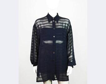 Transparent vintage blouse with velvet strips