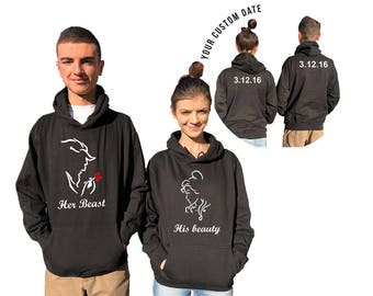 Her Beast His Beauty couple hoodies, personalized Back custom Dates, Anniversary gift , wedding gift matching hoodie **BOTH