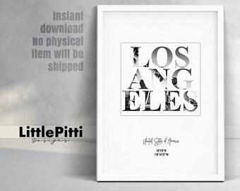 Los Angeles, Los Angeles Print, los angeles art, los angeles poster, california art, la print, digital print, los angeles gift, la wall art
