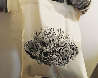 Tote bag graphic bouquet