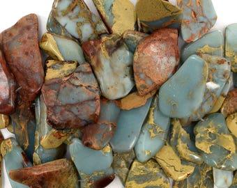 "22-45mm blue sea sediment jasper freeform slab nugget beads 8"" strand 38894"