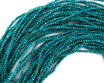 """2mm green turquoise round beads 15.5"""" strand 38391"""