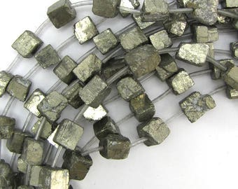 """8-11mm natural gold pyrite nugget beads 16"""" strand 12829"""