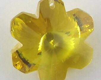 20mm faceted CZ cubic zirconia flower pendant citrine 16789