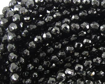 """4mm faceted black onyx round beads 15"""" strand 37907"""