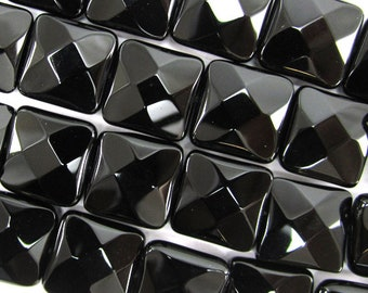 """14mm faceted black onyx flat square beads 15.5"""" strand 34794"""