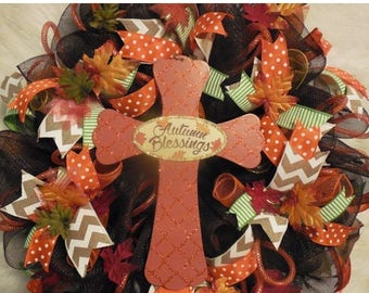 XMAS in JULY SALE-15%off Autumn Wreath, Fall Wreath, Fall Wreaths, Harvest Wreath,Thanksgiving Wreath, Happy Thanksgiving Wreath, Cross Wrea
