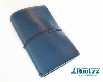 Passport Traveler's notebook blue leather - midori like- fauxdori