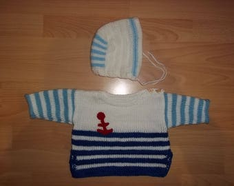 Doll or babyset, sweater and cap, blue White, Gr. 74-86