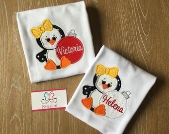 Christmas Penguin Shirt for Girls /  Bodysuit, Shirt or Bib