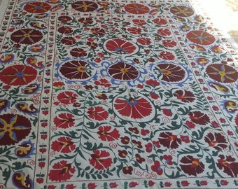 6by8ft Large size Vintage Textile Large size hand made cover,Bed Covers,handmade textile,sofa cover,suzani silk, wall hanging